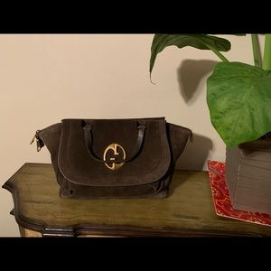 GUCCI Olive Green Suede 1973 Top Handle Tote Bag